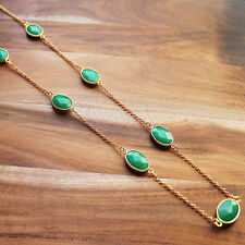 Hand-crafted 88cm gold toned Green Malaysian Jade Semi-Precious Stone necklace