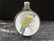 Green Parrot Necklace Small Antique Silver Glass Pendant Gifts for Her Women