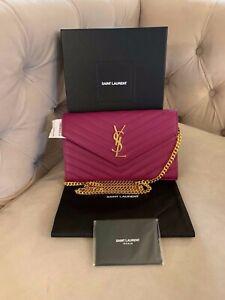 Saint Laurent YSL Large Envelope Leather Chain Wallet Crossbody Bag Purple NWT!!