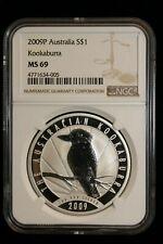 2009 Australia. ($1) Dollar (One Oz.). Anniversary Kookaburra. NGC Graded MS-69