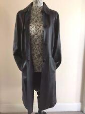M&s Femmes Noir Long Cuir Manteau Taille 12-Matrix LOOK!