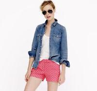 J. Crew women's Pink White Polka Dot Linen Blend Chino Shorts Size 12