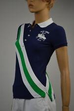 Ralph Lauren Navy Blue White Green Stripe Big Pony Match Polo Shirt XSmall NWT