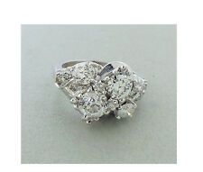 Antique Diamond Ring 1.70 Carat Total Weight 14K White Gold. Old Mine Diamonds.
