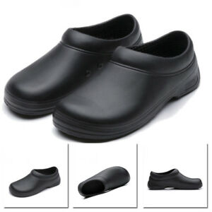 Mens Chef Kitchen Cook Shoes Restaurant Safety Oil Resistant Non-Slip Black Flat