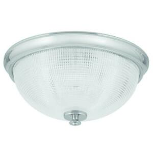 Lucky Collection Polished Chrome Flush Mount w/Clear Double Prismatic Glass