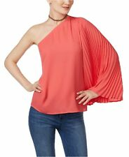 Inc International Concepts Polished Coral Pleated One-shoulder Top M