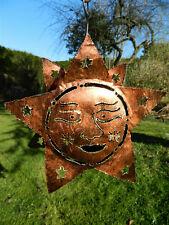 Star Sun  Metal Tea light Candle Holder Garden Lantern -  Copper Star Sun Face
