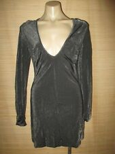 Malene Birger flexi LUREX Grey black metallic sheen sweater sexy club Dress sz L