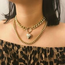 Gothic Gold Open Heart Locket Clavicle Chain Pendant Memory Choker Necklace Gift