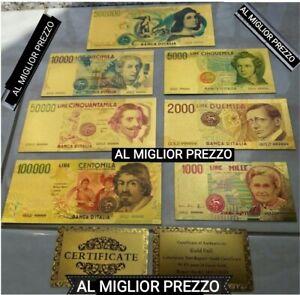 LOTTO DI BANCONOTE VECCHIA LIRA IN FOGLIA D'ORO 24KT GOLD PLATED CON CERTIFICATO