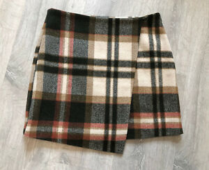 BNWT Next Winter Skirt Size 8 Petite Checked Faux Wrap Wool Blend Mini Lined