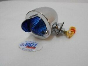 Scooter Mod Peak Bullet Marker Spotlight Chrome BLUE Lense 003822