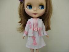 Blythe/Skipper Doll Clothes Pink Poodle Print Dress w/Jacket