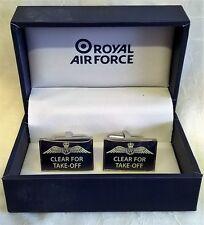 ROYAL AIR FORCE CUFFLINK SET - CLEAR FOR TAKE OFF - TROPHY MENS GIFT RAF120