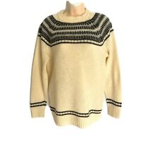 Vintage 80's Virgin Wool Sweater Size M/46 Ivory, Gray And Black Parkhurst