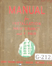 Gisholt Type S Dynetric Balancing Machine Service And Parts Manual 1952