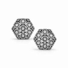 Hexagon Mil Grain Round Cut 14k White Gold Cuff Links Fine Men's Jewelry Gift