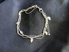Tone Ankle Chain Triple Strand Silver