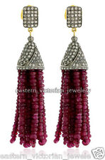 Ruby Studded Silver Tassel Earring Jewelry Vintage 4.75Cts Pave Rose cut Diamond