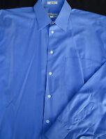 Pronto Uomo Mens Button Front Long Sleeve Blue Cotton Shirt 16