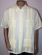 f5b87c9c TROPICOOL Guayabera Men's XL Tall Yellow Button Down Short Sleeve Summer  Shirt