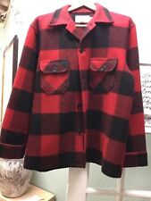 Vintage Bemidji Woolen Mills Red/Black Wool Light Coat Jacket Large