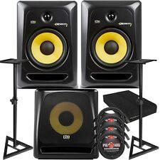 """KRK RP8G3 ROKIT 8 G3 8"""" Active Studio Monitor Speaker Pair Black + 10S V2 Sub"""