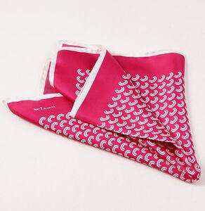 New $215 KITON NAPOLI Raspberry-White Geometric Wave Print Silk Pocket Square