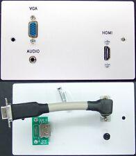 AV Wall Plate, Metal, 2-Gang, VGA Video / HDMI / 3.5mm Stereo Audio Jack Sockets