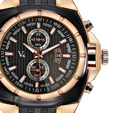 V6 Luxury Sport Mens Stylish Black Rubber Band Wrist Watch Quartz Xmas Gift New