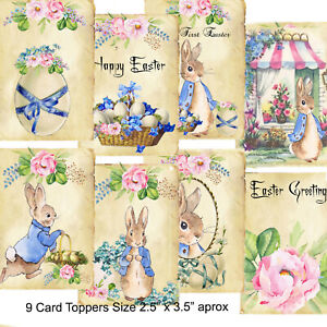 9 Card Toppers Peter Rabbit Easter, Vintage Easter Scrapbooking, cardmaking,Tags