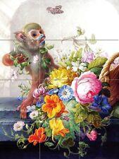 Still life with a monkey and a basket of flowers Tile Mural Kitchen Backsplash