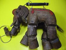 Vintage Handcarved Handpainted Wooden Elephant Marionette Puppet