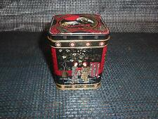 Old Vtg Oriental Motif Metal TEA TIN BOX Caddy Container Made England