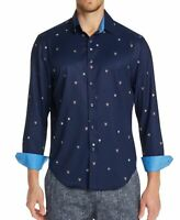 Tallia Sport Mens Shirt Blue Size Small S Tiger Dot Slim Fit Button Down $88 039