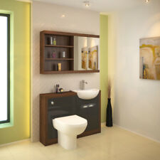 Bathroom Fitted Furniture 1200mm Lucido Unit Basin Walnut Grey with Toilet Tap