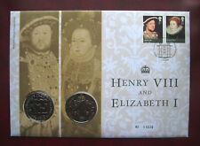 More details for uk 2009 henry viii & elizabeth i 2 x 5 pound coins 1st day cover