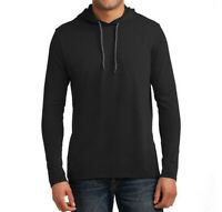 Anvil 987 - Lightweight Long Sleeve Hooded T-Shirt - Black - Sizes S, M, L