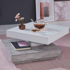 Couchtisch Wohnzimmertisch Tisch drehbar Universal Beton/Weiß 70 x 70 cm