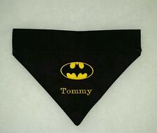 PERSONALIZED DC COMICS BATMAN LOGO SIGNAL EMBROIDERED DOG COLLAR BANDANA LARGE