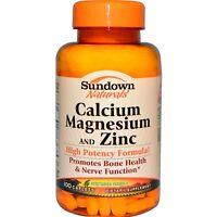 Calcium Magnesium and Zinc, 100 Caplets - Sundown Naturals