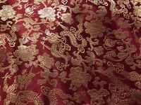 "Burgundy Gold Dragon Brocade Fabric 45"" Width Sold By The Yard"