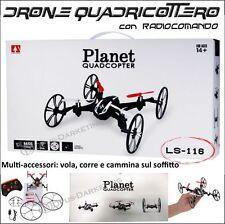 DRONE QUADRICOTTERO RADICOMANDATO GIROSCOPIO NO PARROT + RUOTE LED PLANET VOLO