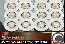 12 x DIMMABLE LED Fixed Downlight Kits White 10W 600Lm 240V GU10 Warm White 70mm
