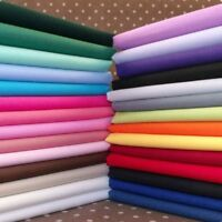 100% Cotton Solid Plain Fabric Extra Wide FQ Half Metre Metre Over 30 Colours.