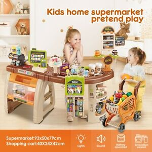 Kids Pretend Role Play Shop Grocery Supermarket 65 Accessories Toy Set w/Trolley