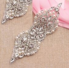 SALE Silver Bead Pearl Bridal Applique Diamante Rhinestone Headband Wedding Belt