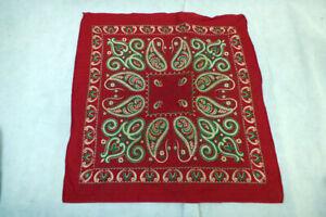 "Vtg 3 Color Cotton Bandana Paisley Floral 1940s Western Handkerchief 23"""