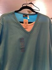 NOS CRACKER BARREL TURQUOISE LONG SLEEVE KNIT SHIRT WITH JEWELS SIZE 3XL